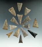 Group of 15 Triangular arrowheads found near Belfast, Allegheny Co., New York.