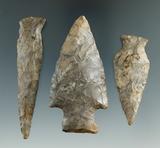 Set of three New York arrowheads, largest is 3 1/8