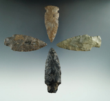Set of four assorted Archaic points found in New York, largest is 3 1/16