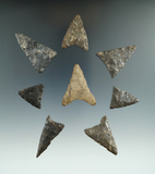 Set of eight triangular arrowheads found in New York, largest is 1 13/16