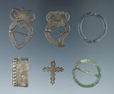 Set of six very nice metal Brooches and ornaments including a cross. 2 of the Brooches pictured!
