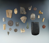 Group of 20 various artifacts including a 2 3/8