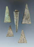 Group of assorted metal projectile points, largest is 2