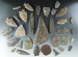 Group of 33 assorted artifacts collected from various sites south of Pittsford, Monroe Co., NY.