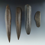 Set of four stone woodworking tools found in Geneseo, Livingston County New York.