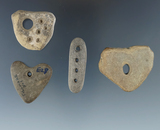 Set of four stone drilled pendants found in Allegheny County New York, largest is 1 1/2