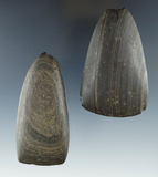 Pair of slate Celts, both have nice bits, largest is 3 3/8