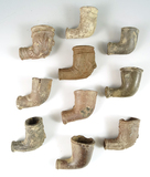 Group of 11 assorted clay trade pipes in various conditions found in New York.