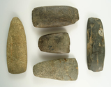 Set of five assorted New York Celts, largest is 4 13/16