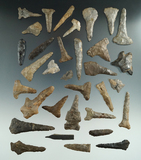 Large group of assorted Flint drills found in New York. Some restored, some broken and glued.