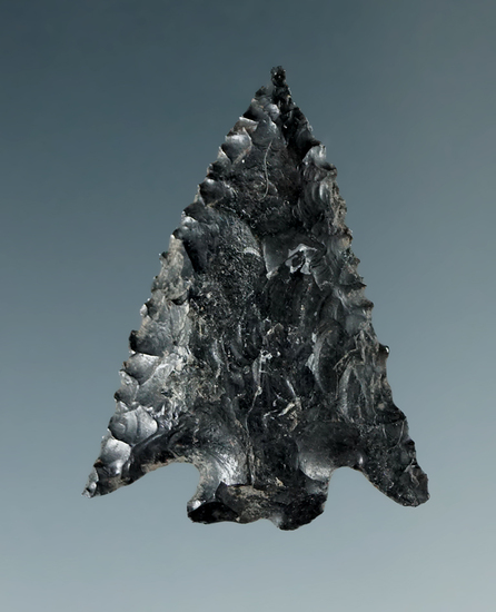 "1 3/8"" Serrated Diagonal Notch made from Obsidian, found in the Great Basin, Oregon."