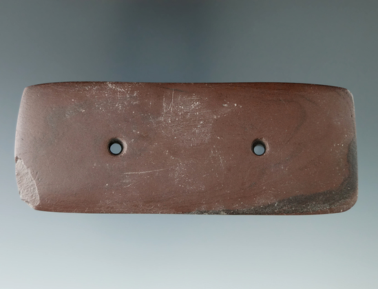 "4 1/4"" Rectangular Gorget made from black and red Slate found in Williams Co., Ohio."