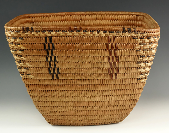 """12"""" Wide x 9"""" tall Klamath Indian basket from British Columbia, Canada, purchased in 1949."""