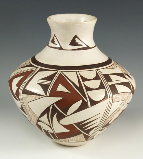 """8"""" tall contemporary Acoma Pottery Vessel in excellent condition with beautiful artwork."""