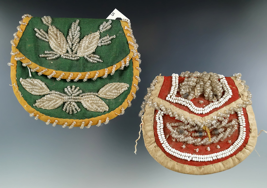 """Pair of Great Lakes vintage beaded Purses. Largest is 4"""" wide."""
