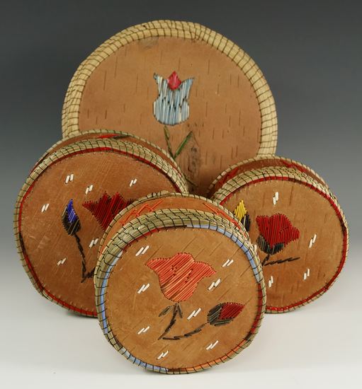 """Set of four Birch bark lided Baskets with nice quill work. Largest is 6 1/2"""" diameter x 5"""" tall."""