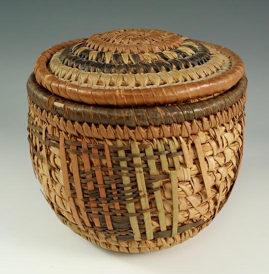 "4"" tall x 5"" wide Eskimo coiled Basket made from Bunch grass. Quinkinok, Lower Kuskokwin."