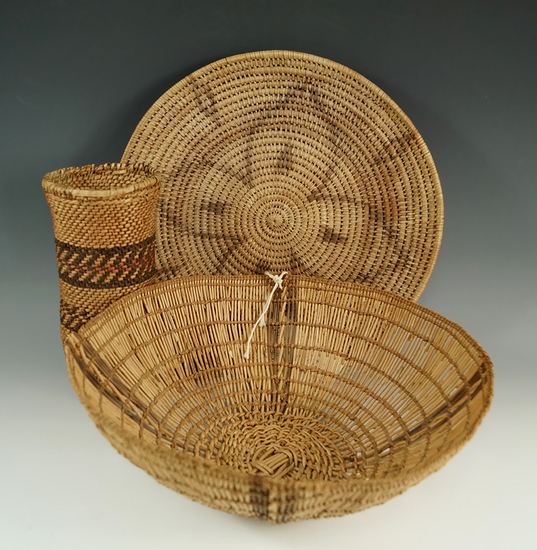 """Set of three assorted woven items including a 9"""" diameter Yurok Indian Basket."""
