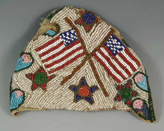 """5"""" wide beaded leather panel with American flags that makes a nice display."""