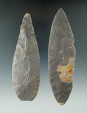 Pair of Turkeytail Blades found in Crawford Co., Indiana as part of a 27 total piece Cache.