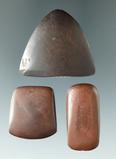 Set of three miniature Hematite artifacts, Warren Co., Ohio. Ex. D. Shipley, Dick Coulter, Weidner.