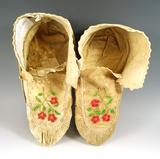 Naskapi/Montagnais soft soled Moccasins, circa 1880. Ex. Colin Taylor collection, England.