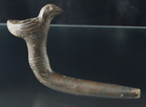 Bird Effigy Pipe with some restoration to the stem, broken mended and repaired.