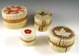 Set of four quill work Lidded Containers, a few have minor damage.