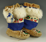 Pair of beaded and adorned Athabaskan leather child's Boots from the mid 1900's.
