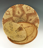 Set of three woven Trays, largest is 13 1/2