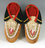 Pair of small Seneca child's beaded Moccasins made from moose hide. Circa 1880-1900.
