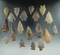 Nice group of 19 Assorted Arrowheads found in the 1950s in Megson Hamilton County Tennessee.