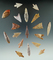 Set of 18 Neolithic African arrowheads found in Northern Sahara Desert Region. Largest is 2 13/16