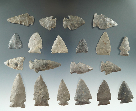 Group of 20 assorted points found near the upper Susquehanna, Otsego County NY.