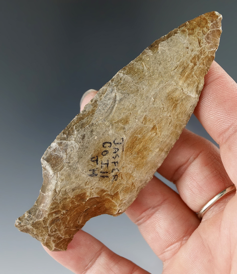 "3 3/4"" Archaic Stemmed Knife found in Jasper County Illinois."