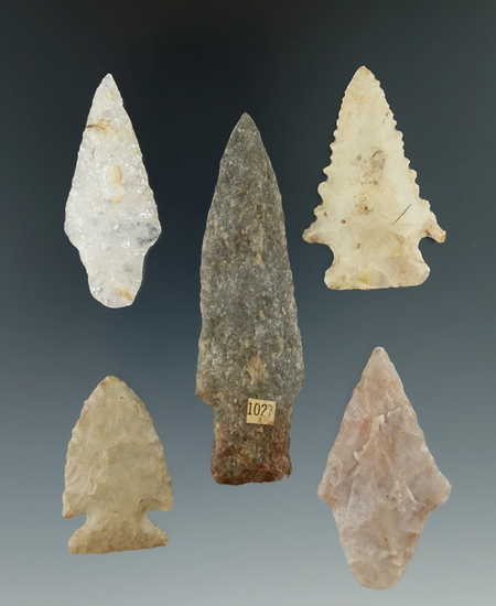 5 points including a serrated Kirk found in Northern Pennsylvania, Susquehanna River.