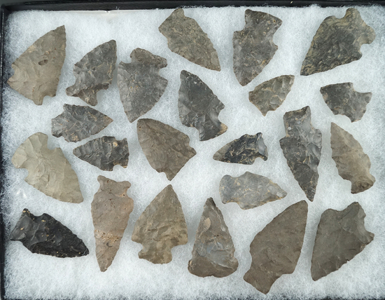 """Group of 23 assorted points found in Otsego County NY. Largest is 1 15/16""""."""
