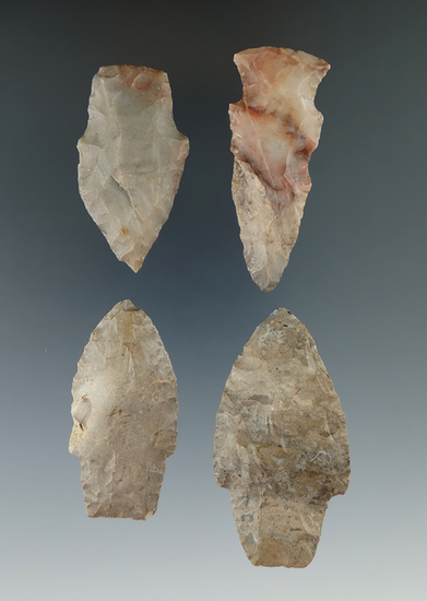 """Set of four assorted arrowheads on the Michigan, largest is 2 3/8""""."""