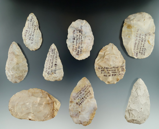 Cache of nine Flint Ridge Flint Blades found in 1910 by M. R. English given to J. W. McManus in 2003