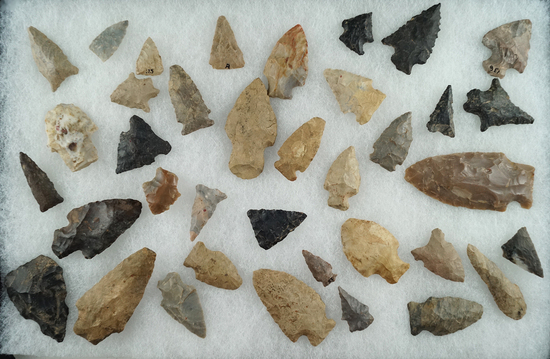 Large group of assorted arrowheads found in Mason County West Virginia near Point  Pleasant.