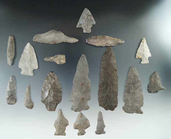 Group of 17 assorted flaked points and knives found near the upper Susquehanna, Otsego County NT