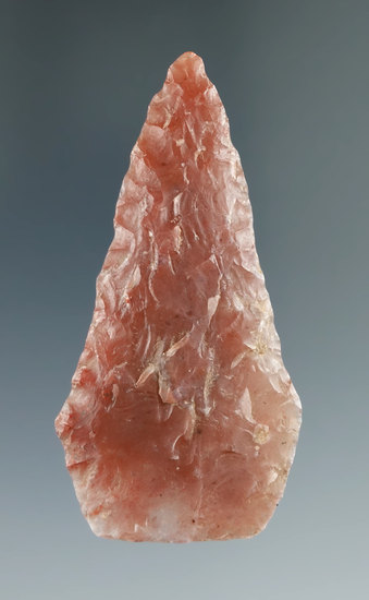 "Well flaked 2 3/8"" Pentagonal Knife made from beautiful semi translucent red and clear agate - Utah."