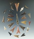 Group of 25 N. African Sahara desert region projectile points, largest is 1 5/8