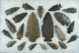 21 assorted archaic points and knives found in Otsego County NY near the upper Susquehanna.