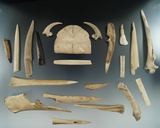 Group of 20 17th century bone awls, beads and pendant etc. found in NY. Largest is 5