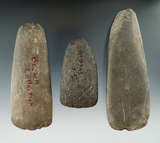 Set of three Hardstone Celts found in NY, largest is 5 3/8