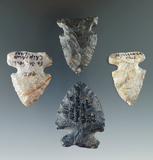 Set of four nice assorted SideNotched Ohio points, largest is 1 13/16