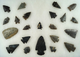 Approximately 22 assorted arrowheads found in the 1950s in Meigs and Hamilton County, TN.