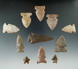 11 archaic points and knives found in Kentucky, largest is 2 9/16