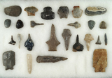 Group of assorted Flint tools from various locations including drills, scrapers and perforators.